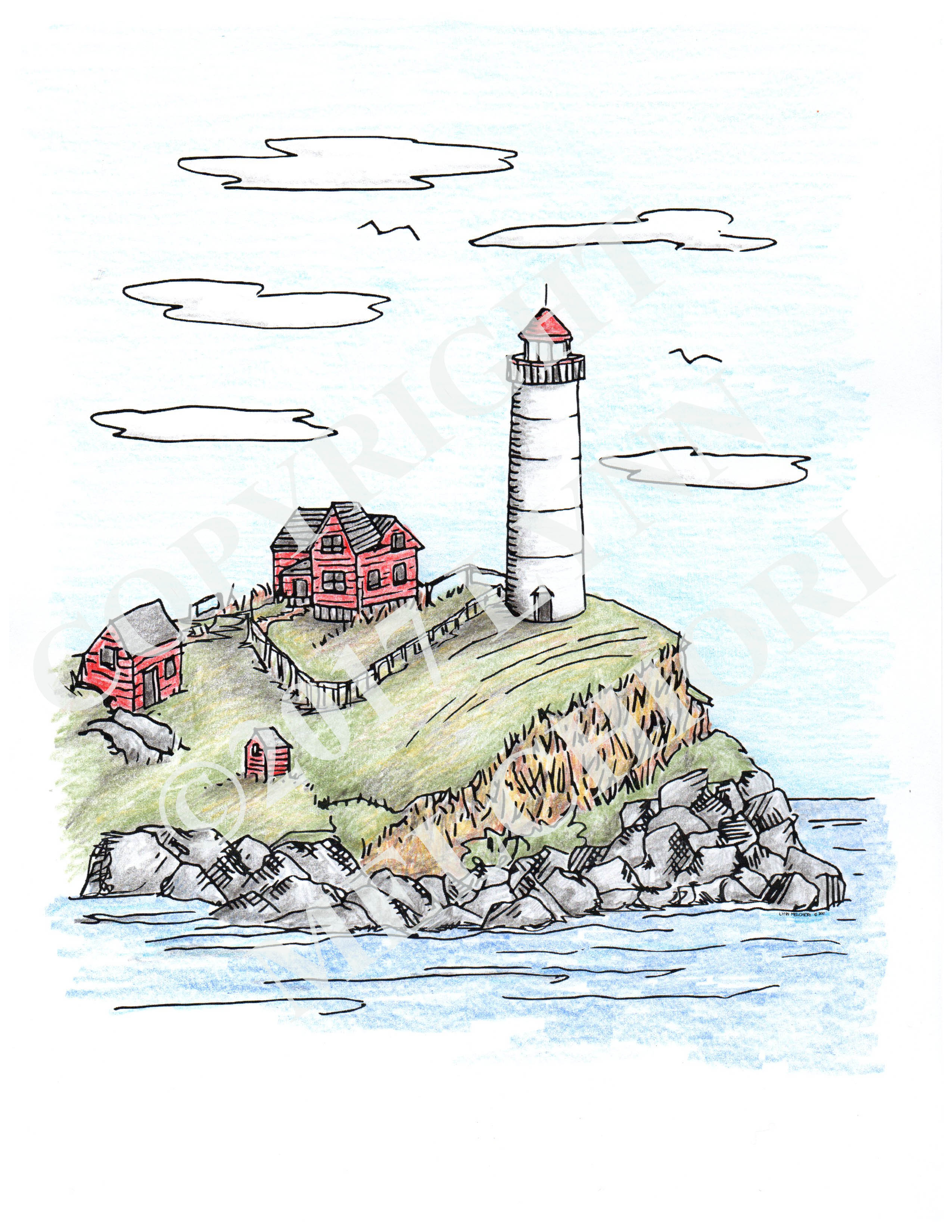 Drawing of a lighthouse on a cliff, colored in with colored pencil.  From the Sea & Shore coloring book