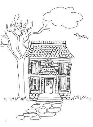 Halloween Spooky House Drawing.Draw A Haunted House Lesson