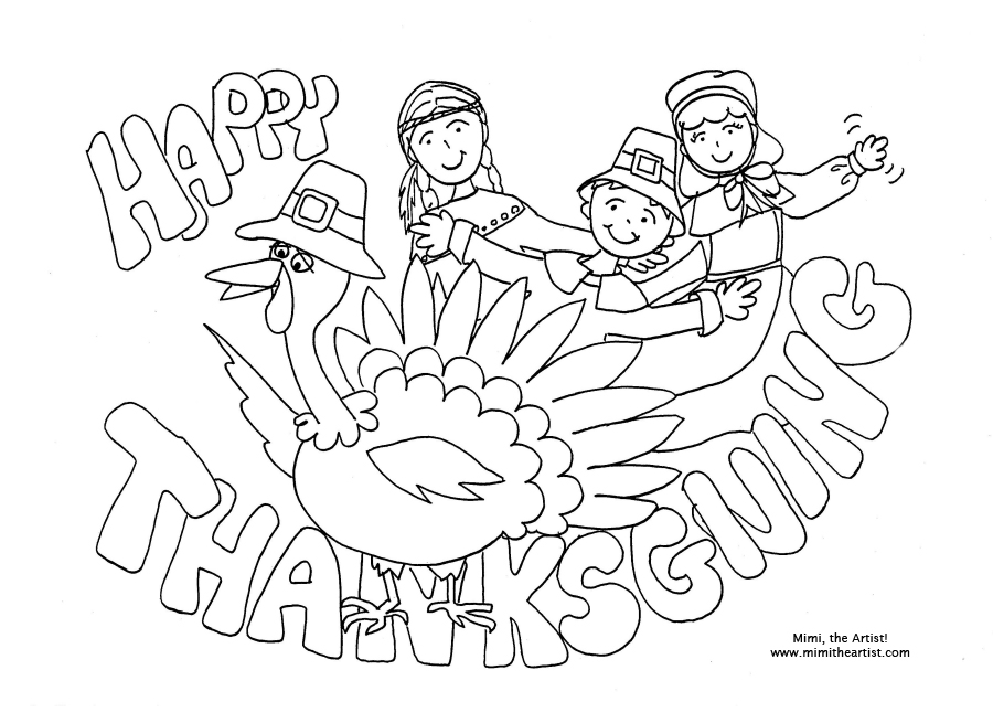 Thanksgiving Pictures to Print & Color
